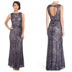 Vince Camuto geometric sequin dress gown